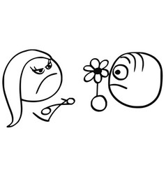cartoon of man with flower and angry woman on date vector image