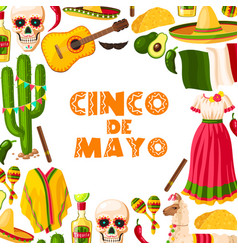 Cinco de mayo festive card of mexican fiesta party vector