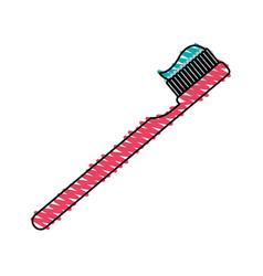 Color crayon stripe cartoon side view toothbrush vector