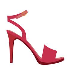 Color silhouette of high heel sandal shoe vector