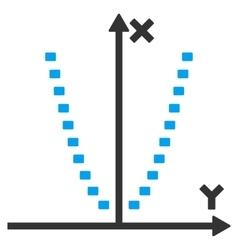 Dotted parabola plot icon vector