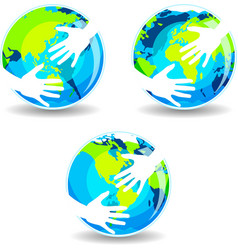 Earth In Hands vector image vector image