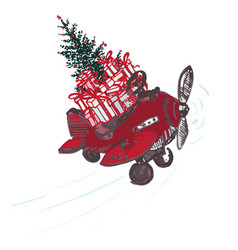 festive christmas card red airplane with fir tree vector image vector image
