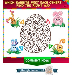 Find a correct way rabbit meet each other vector image