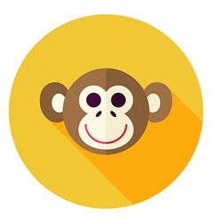 Flat Design Monkey Circle Icon vector image vector image