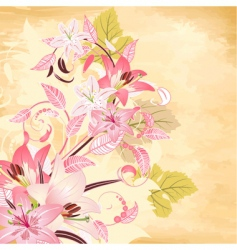flowers on papyrus background vector image