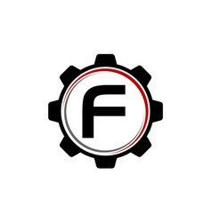 Gear solution logo letter f vector
