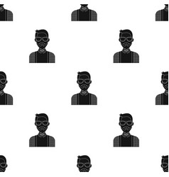 Hipster icon in black style isolated on white vector