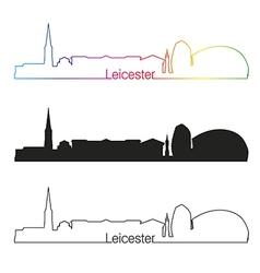 Leicester skyline linear style with rainbow vector image vector image