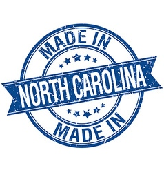 Made in north carolina blue round vintage stamp vector