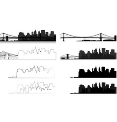 Manhattan bridge silhouette of city 9 vector
