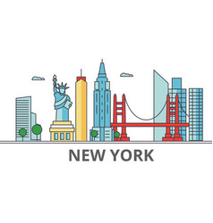 new york city skyline buildings streets vector image