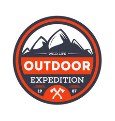 Outdoor nature expedition vintage isolated badge vector