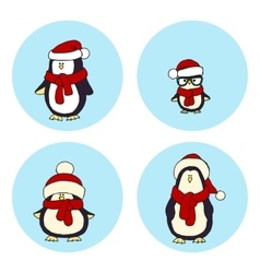 penguins Christmas card vector image vector image