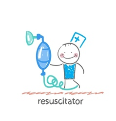 resuscitation with oxygen mask vector image