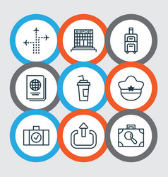 Set of 9 travel icons includes pilot hat vector