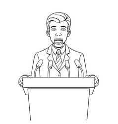 Speaking puppet on tribune coloring book vector