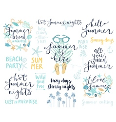 Summer Lettering Design Set - hand drawn vector image
