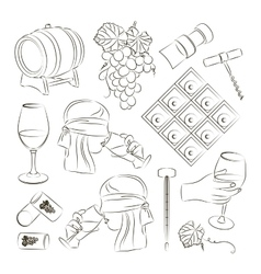 Tasting wine icons vector