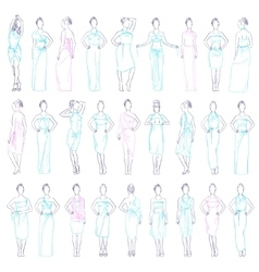 Various evening dresses set vector