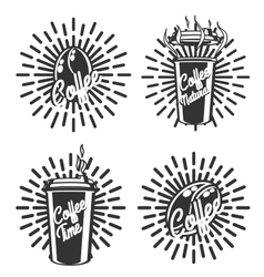 Vintage coffee emblems vector image