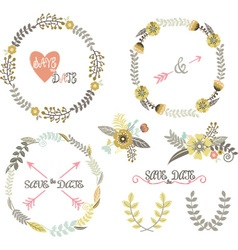 Vintage Wedding Wreath Laurel Elements vector image vector image