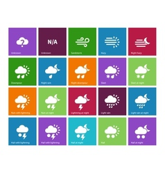 Weather icons on color background vector image