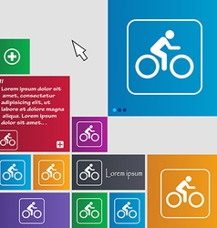 Cyclist icon sign buttons Modern interface website vector image