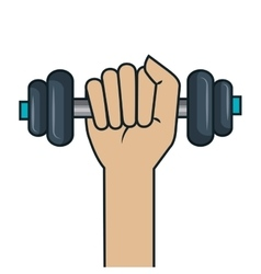 Training hand holding barbell design vector