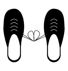 Tied laces on shoes icon simple style vector