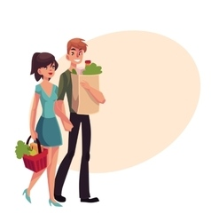 Young couple buying food at grocery store vector