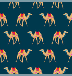 camel cartoon seamless pattern on blue vector image