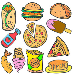 Doodle of food various burger drink vector