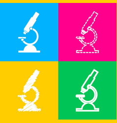 Chemistry microscope sign for laboratory four vector
