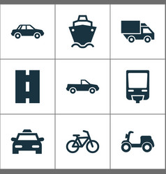 Shipment icons set collection of cab way vector