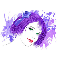 Image of a girl with lilac hair and green eyes vector