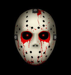Bloody hockey mask on black background for design vector
