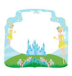 Fairytale frame with little fairies vector