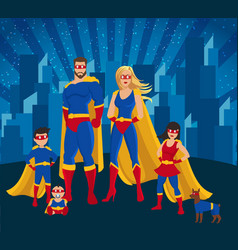 family of superheroes together poster vector image