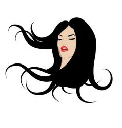 Woman with flowing hair vector