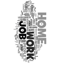 Work at home job text word cloud concept vector