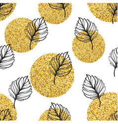 Gold autumn floral background glitter textured vector