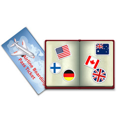 Open passport and airline boarding pass ticket vector