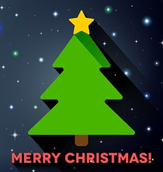 Flat christmas tree with long shadow vector