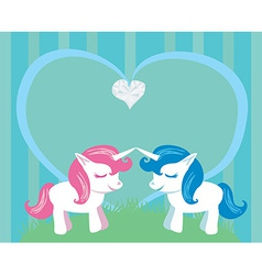 Couple of cartoon unicorns in love vector