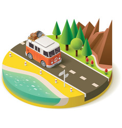 isometric camper travel icon 2 vector image