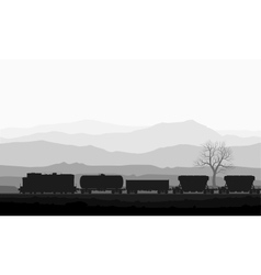 Train with freight wagons over huge mountains vector