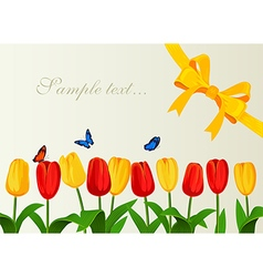 Greeting card with spring tulips and yelow bow vector