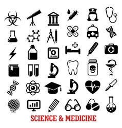 Science and medicine flat icons vector