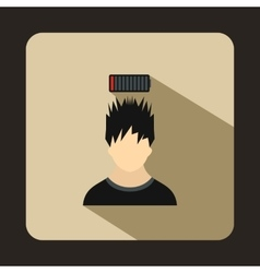 Man with low battery over head icon flat style vector